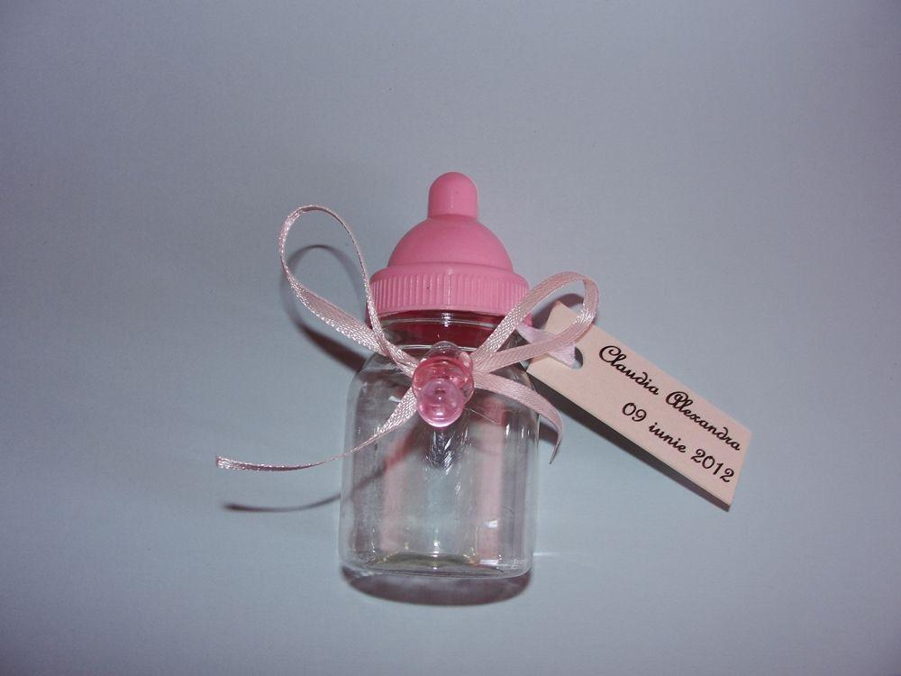 Marturii Botez Fetita Biberon Roz Personalizat Disponibil Doar Pe