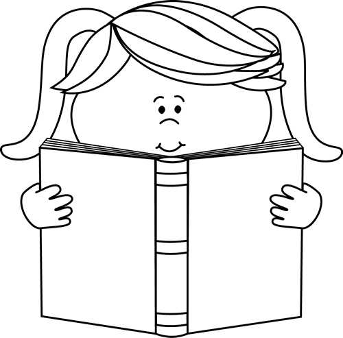 Black And White Little Girl Reading A Book Clip Art Black And White Little Girl Reading A Book Image Book Clip Art Girl Reading Book Girl Reading