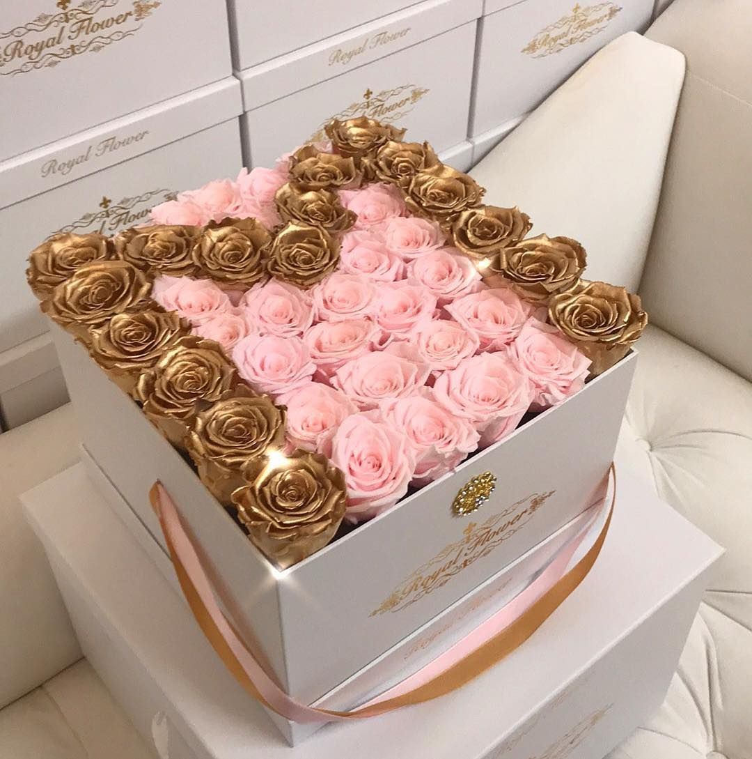 Golden M All Eternity Roses Only At Royal Flower Our Eternity Roses Are Real Roses That Wil Roses Only Fresh Flowers Arrangements Flowers