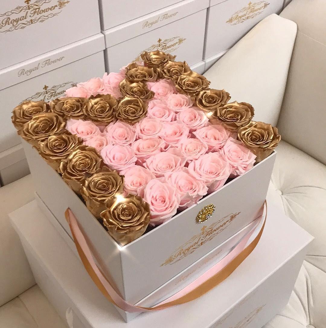 Golden M All Eternity Roses Only At Royal Flower Our Eternity Roses Are Real Roses That Roses Only Fresh Flowers Arrangements Diy Golden