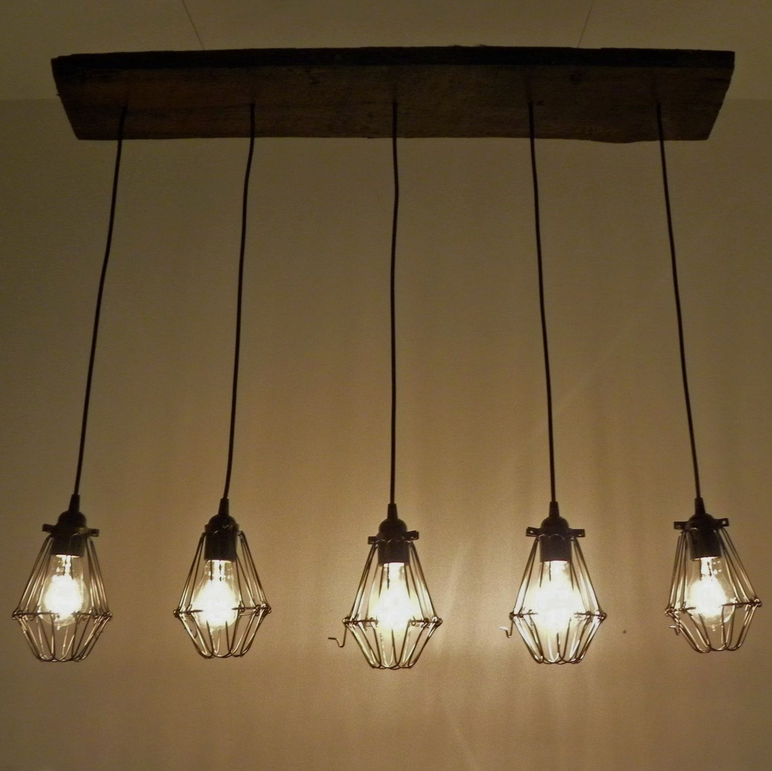 5 Bulb Cage Reclaimed Wood Chandelier
