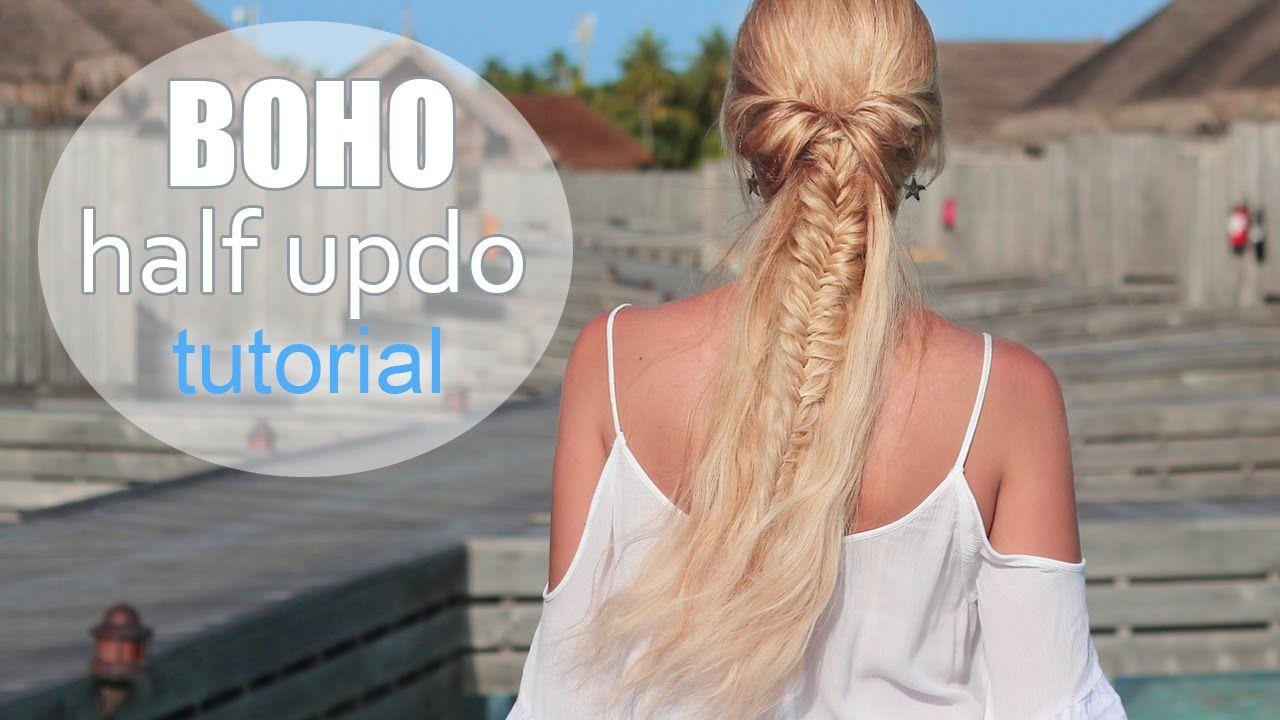 Cute summer hairstyle for mediumlong hair boho half updo