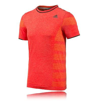 5209d996e Adidas AdiStar Primeknit Mens Red Orange Short Sleeve Running T Shirt Tee  Top M