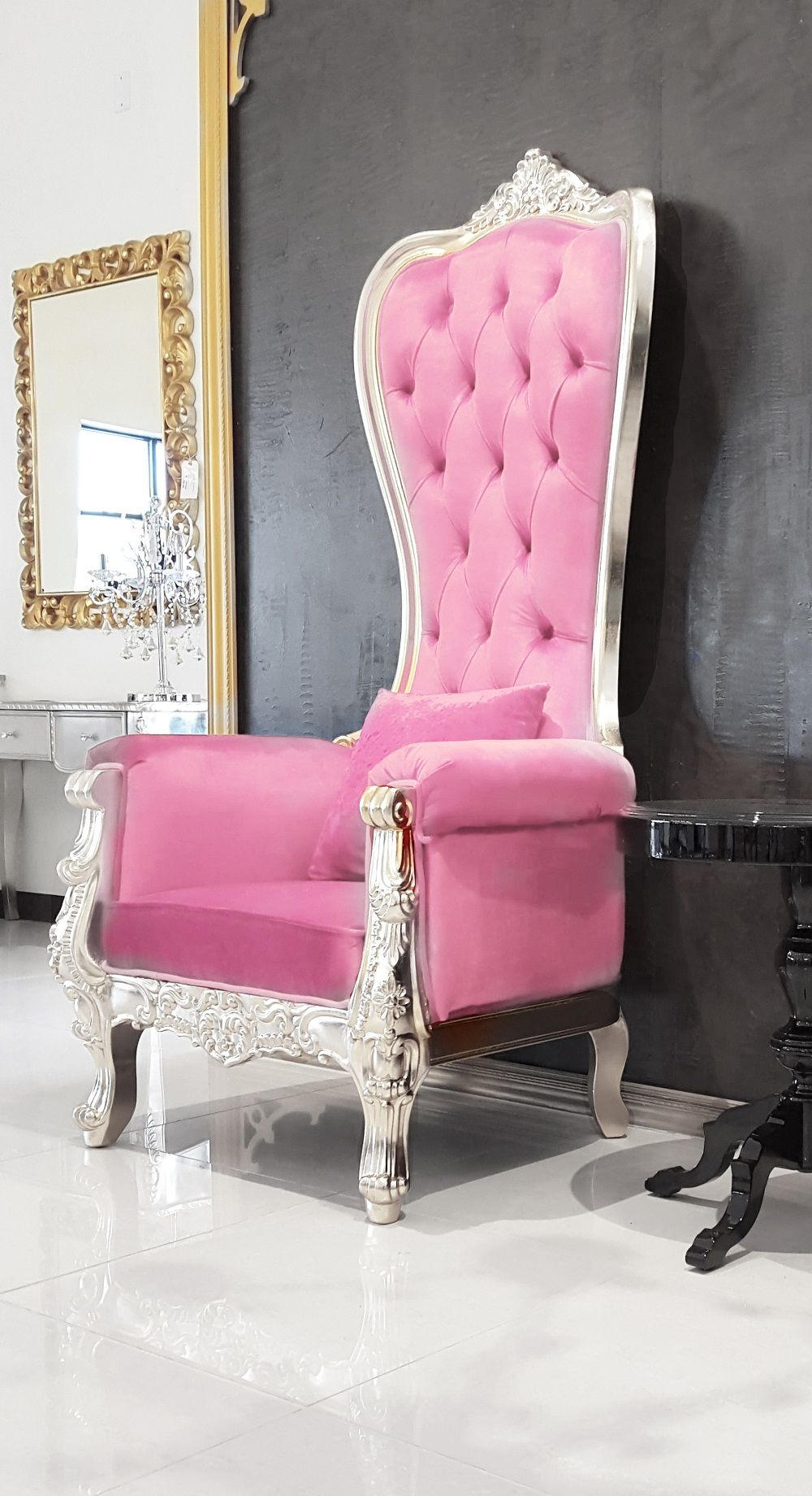 Pink Leather Baroque Throne Chair Queen High Back Silver Frame Plastic Patio Chairs Cute