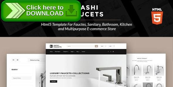 Free nulled Aashi Faucets - HTML5 Template for Faucets, Sanitary