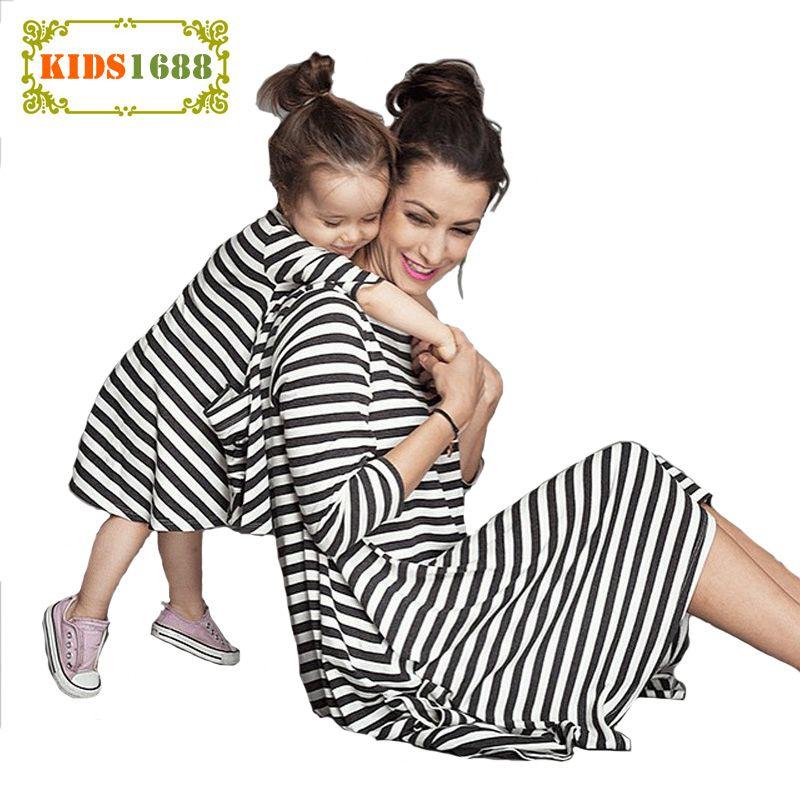 1156629fb2462 2017 Mother Daughter Dresses Autumn New Stripe Design Girls Kids ...