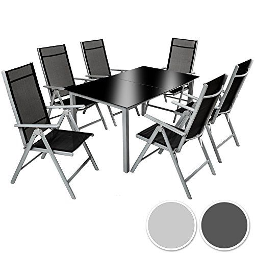 TecTake Aluminium 61 salon de jardin ensemble sièges meubles chaise ...