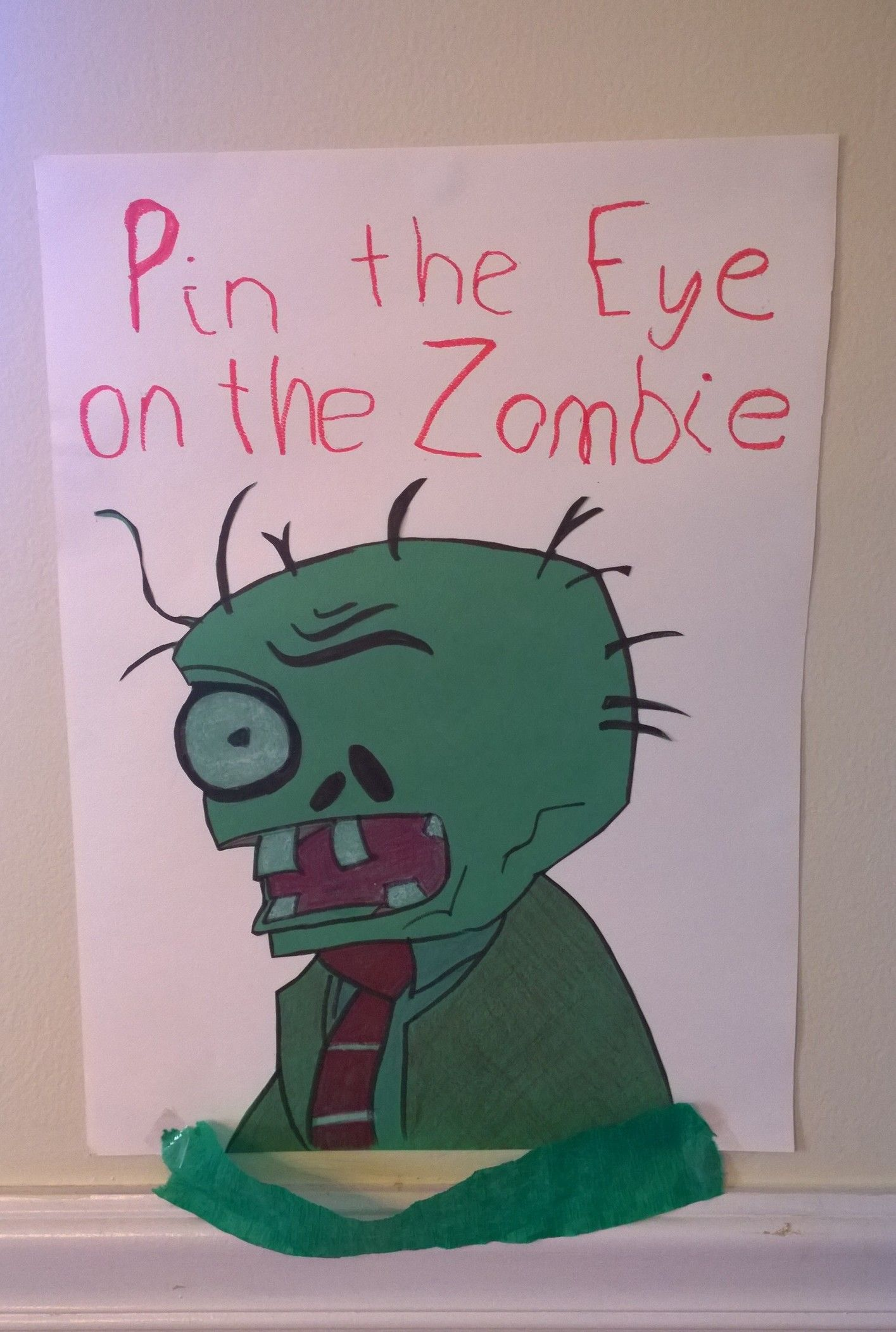 pin the eye on the zombie plants vs zombies party things
