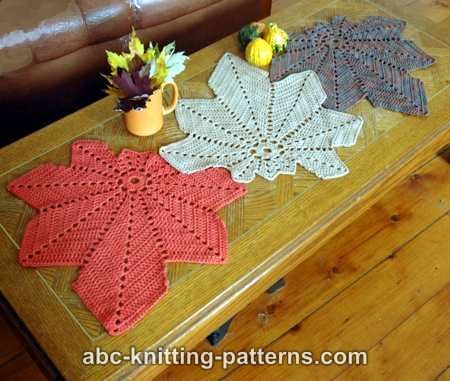 ABC Knitting Patterns - Chestnut Leaf Table Runner and Placemats ...