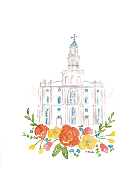 St George Lds Temple Watercolor Lds Temple Pictures Lds
