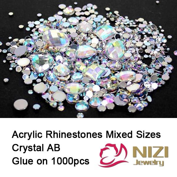 Crystal AB 1000pcs Mix Colors Round Acrylic Non-Hotfix Flatback ...