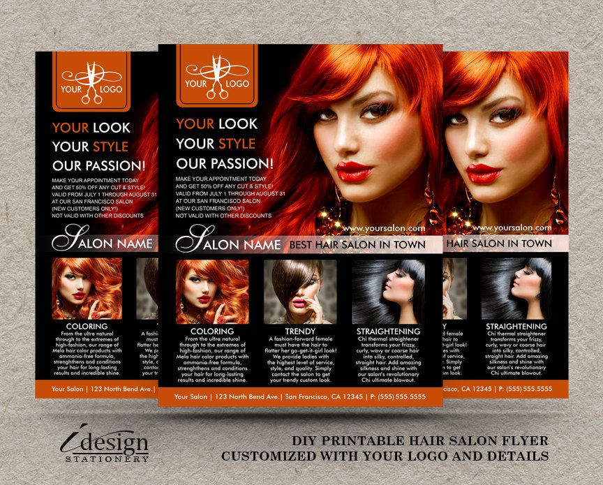 Promotional Hair Salon Or Hair Stylist Flyer Template Personalized
