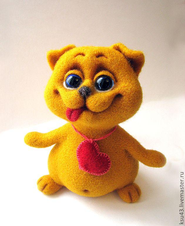 Купить Кот ВАЛЕНТИН - рыжий, коты и кошки, котёнок, шерсть, шерстяная игрушка