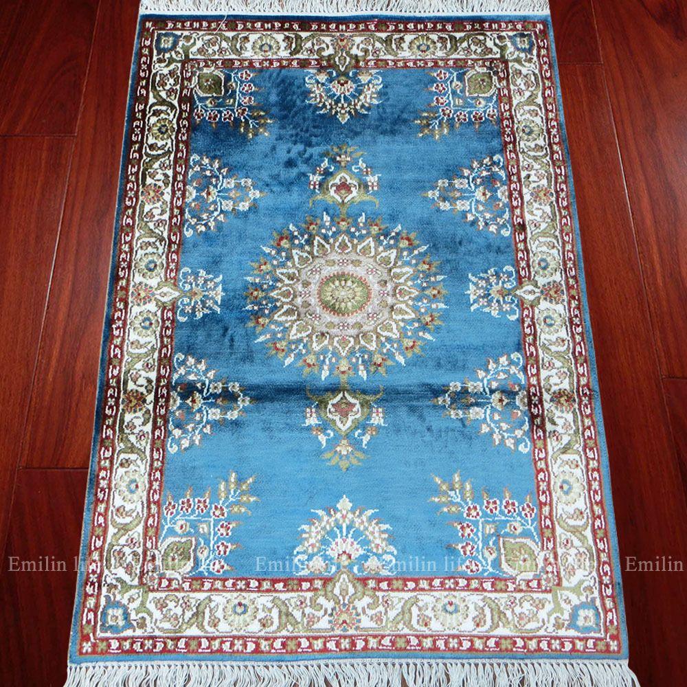 2x3 Oriental Rug Turkish Silk Carpet Handmade Mediterranean Home ...