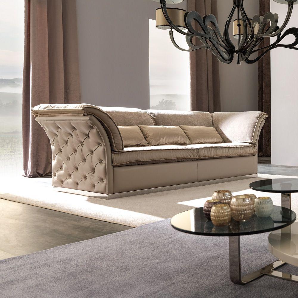 Italian Designer Leather Button Upholstered Sofa in 2020