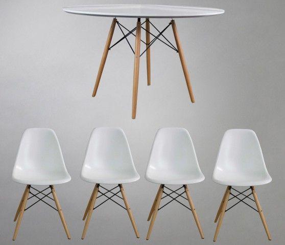 set replica eames mesa sillas blancas