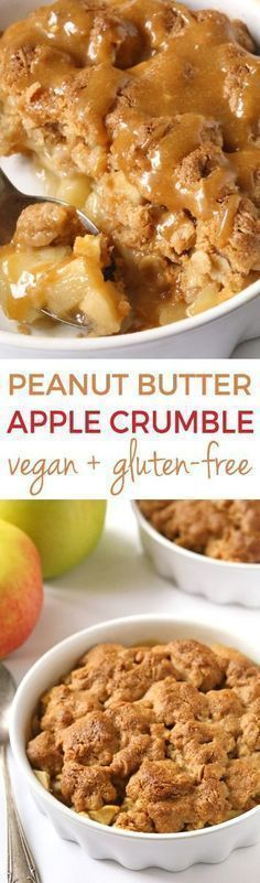 Peanut Butter Apple Crumble (gluten-free, vegan, whole grain) - Texanerin Baking #glutenfreebreakfasts
