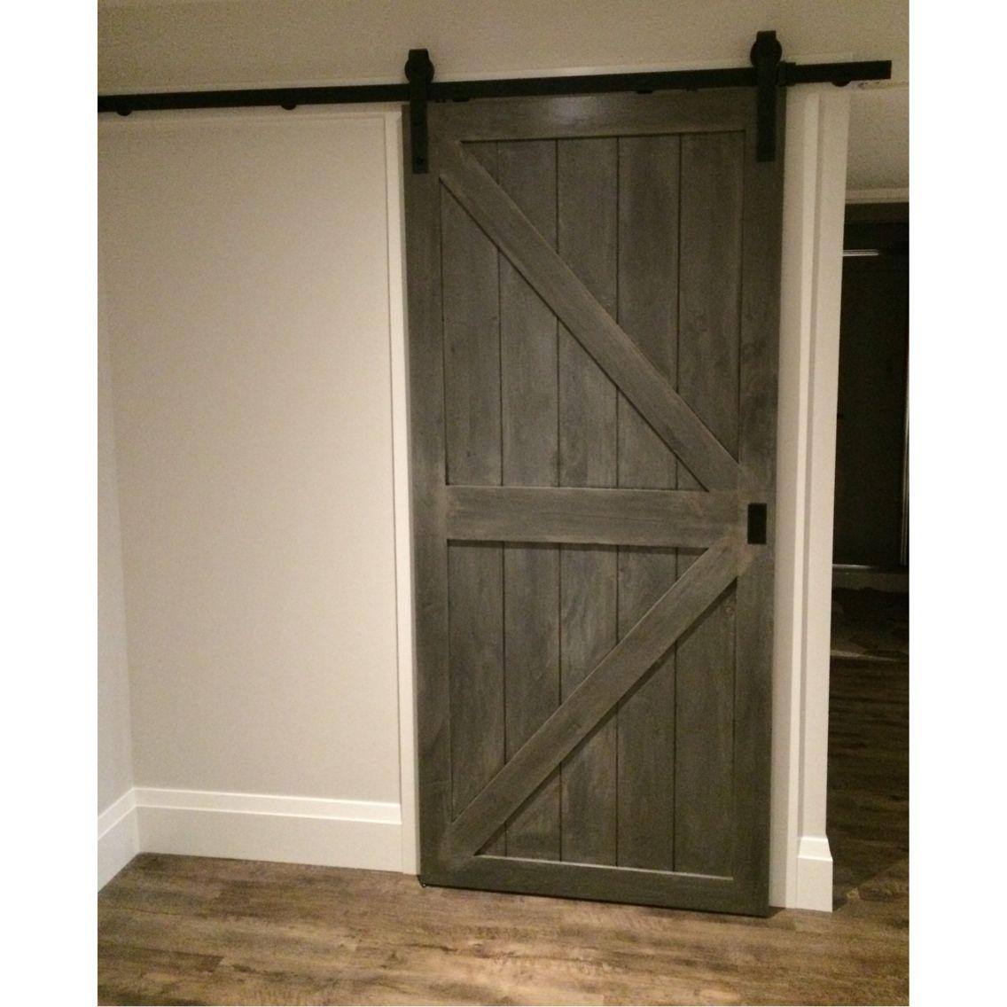 Sliding barn doors weathered grey finish created by 50 50 for Farmhouse sliding door