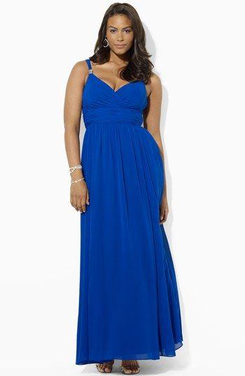 Lauren Ralph Lauren Embellished Surplice Chiffon Gown Plus