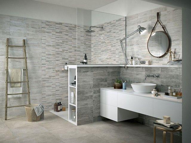 Rivestimento in bicottura effetto legno taiga for Piastrelle bagno mosaico grigio