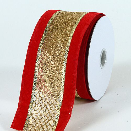 "5 Yards Christmas Metallic Red Green Woven Wired Ribbon 1 1//2/""W"