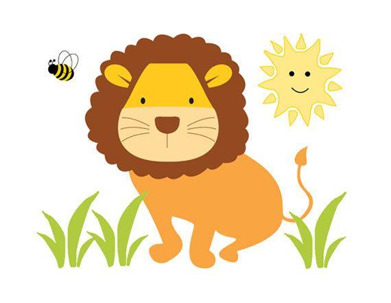 Lion Mural Wall Decal for baby boy or girl safari animals nursery or ...