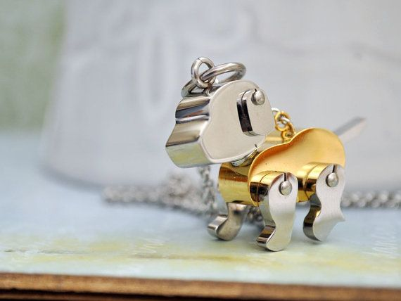 cute surgical steel movable dog pendant