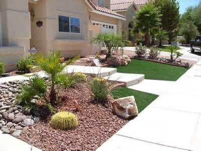 Image Detail For On Las Vegas Residence Front Yard Desert Landscape Artificial Turf Front Yard Landscaping Design Yard Landscaping Desert Landscaping