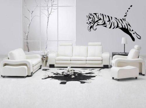 Leaping Tiger Big Cat Animal Wall Art Vinyl Sticker Decal Modern White Living Room Contemporary Living Room Design Leather Living Room Set White tiger living room decor