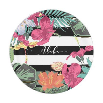 Tropical Floral Flowers Leaves Black White Stripes Paper Plate - black and white gifts unique special  sc 1 st  Pinterest & Tropical Floral Flowers Leaves Black White Stripes Paper Plate ...