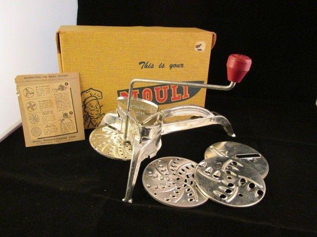 Vintage Mouli Julienne TV Shredder kitchen tool 4 slicer discs complete original