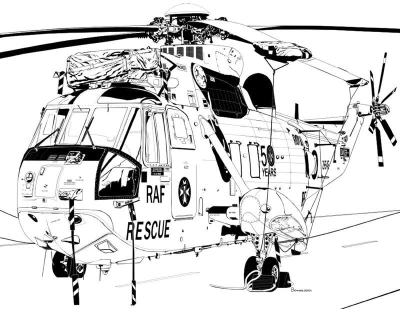 Westland Sea King HAR3A No 22 Sqrn My Ink Drawings