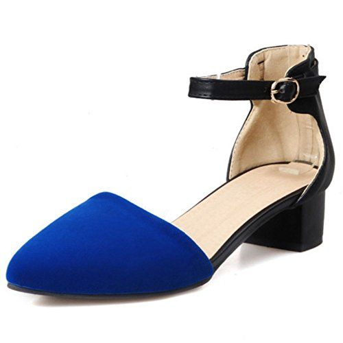 0e5df8dab1ac47 COOLCEPT Women Kitten Mid Heel Pumps Sandals D Osay Suede Leisure Dress Low Heels  Shoes 8 BM US Blue   See this great product.