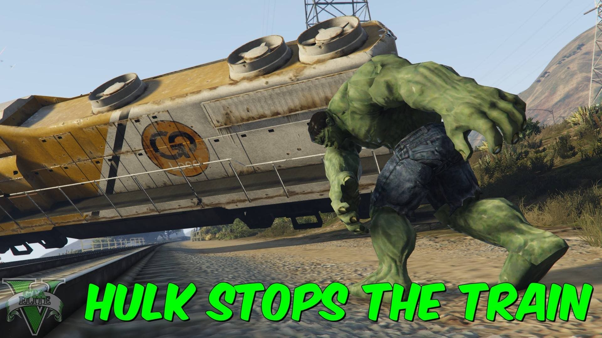 Hulk Stops the Train  GTA V PC Mod (Gameplay + Download