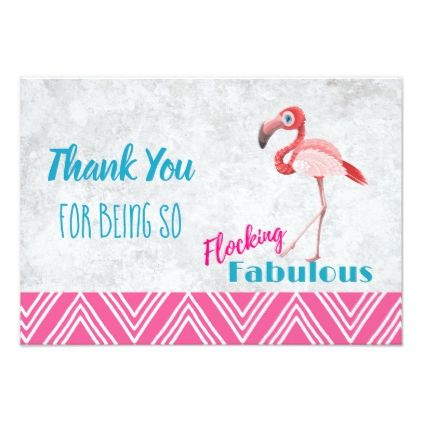 Flocking Fabulous Pun W Pink Flamingo Thank You Zazzle Com Pink Flamingos Custom Thank You Cards Thank You Cards