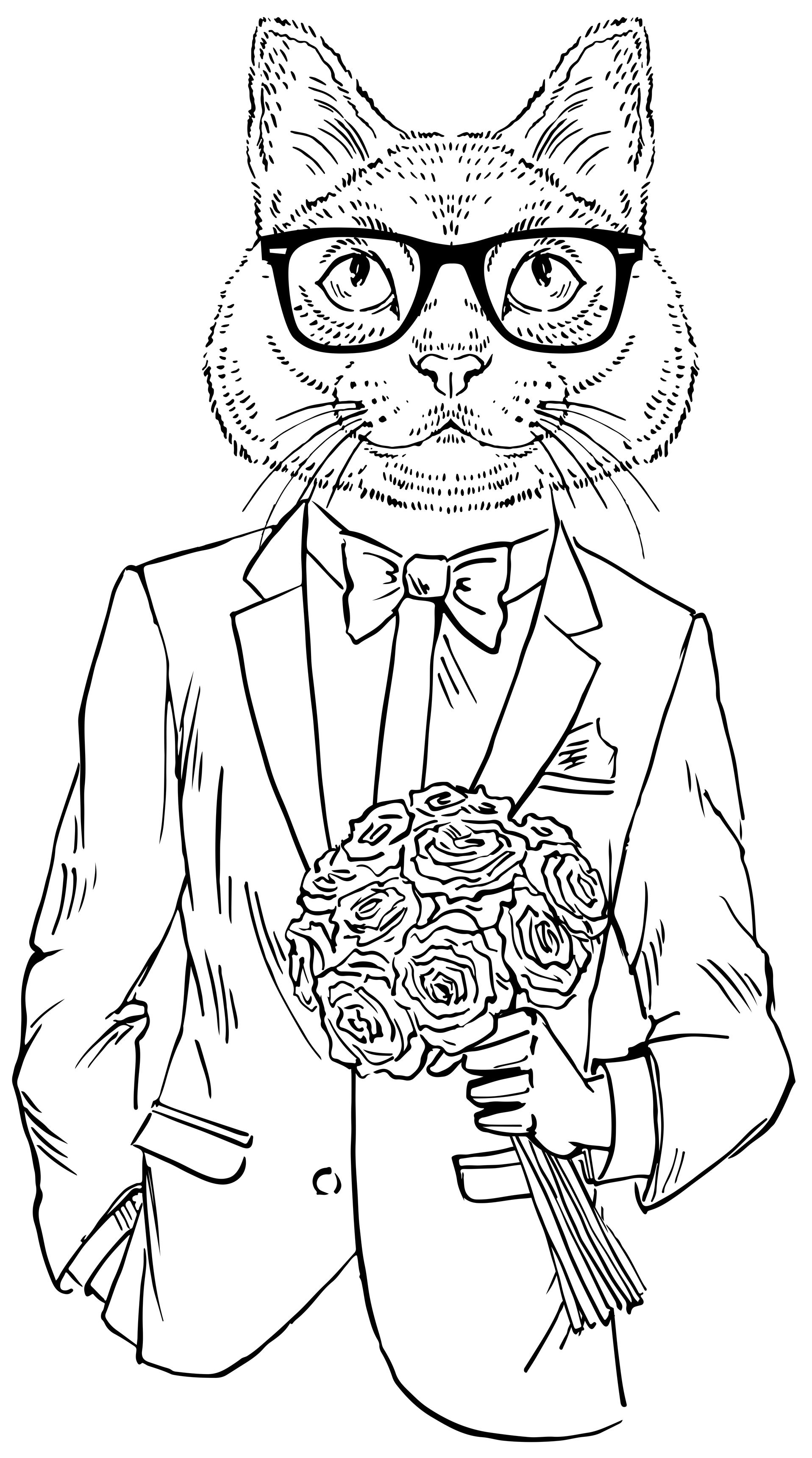 Hipster Cat Date Cat coloring book, Animal coloring