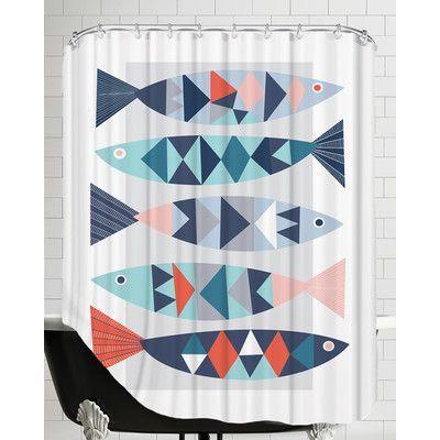 Americanflat Geo Fish Shower Curtain