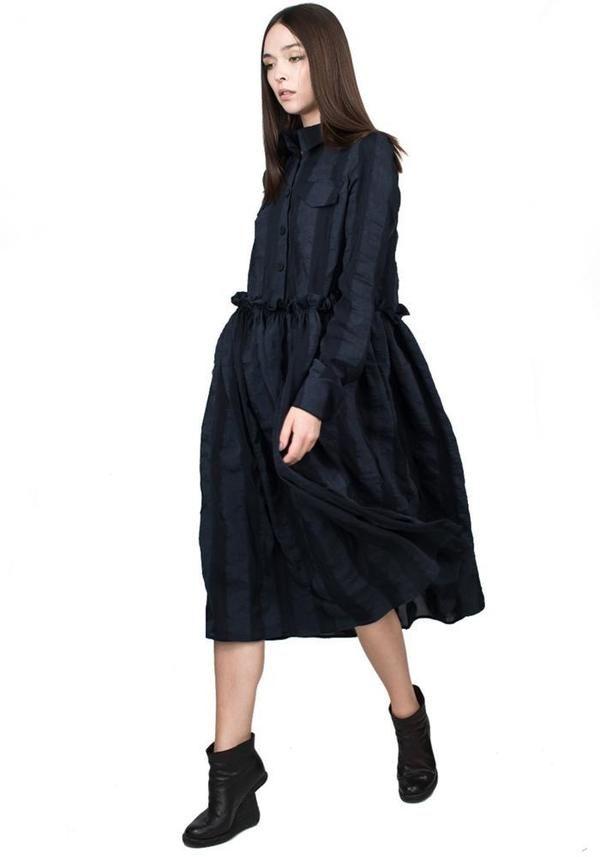 Photo of FIRST DIBS Striped Button Down Long Sleeve Dress – DARK BLUE