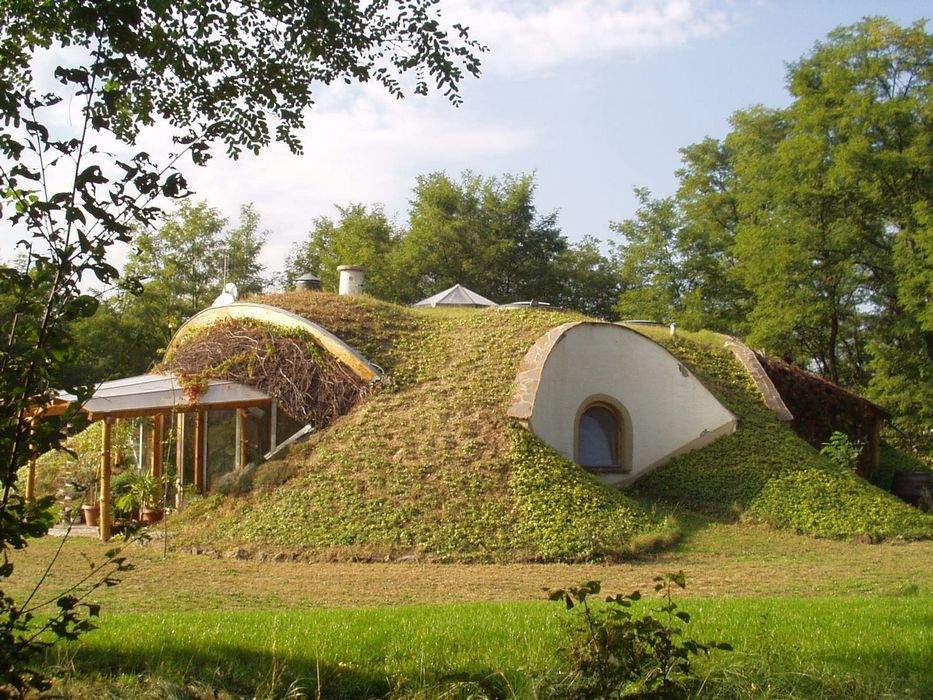 A house built into a grassy hill