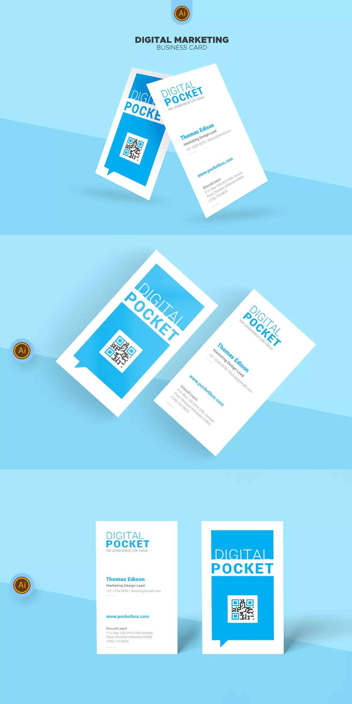 digital marketing business card template ai business card
