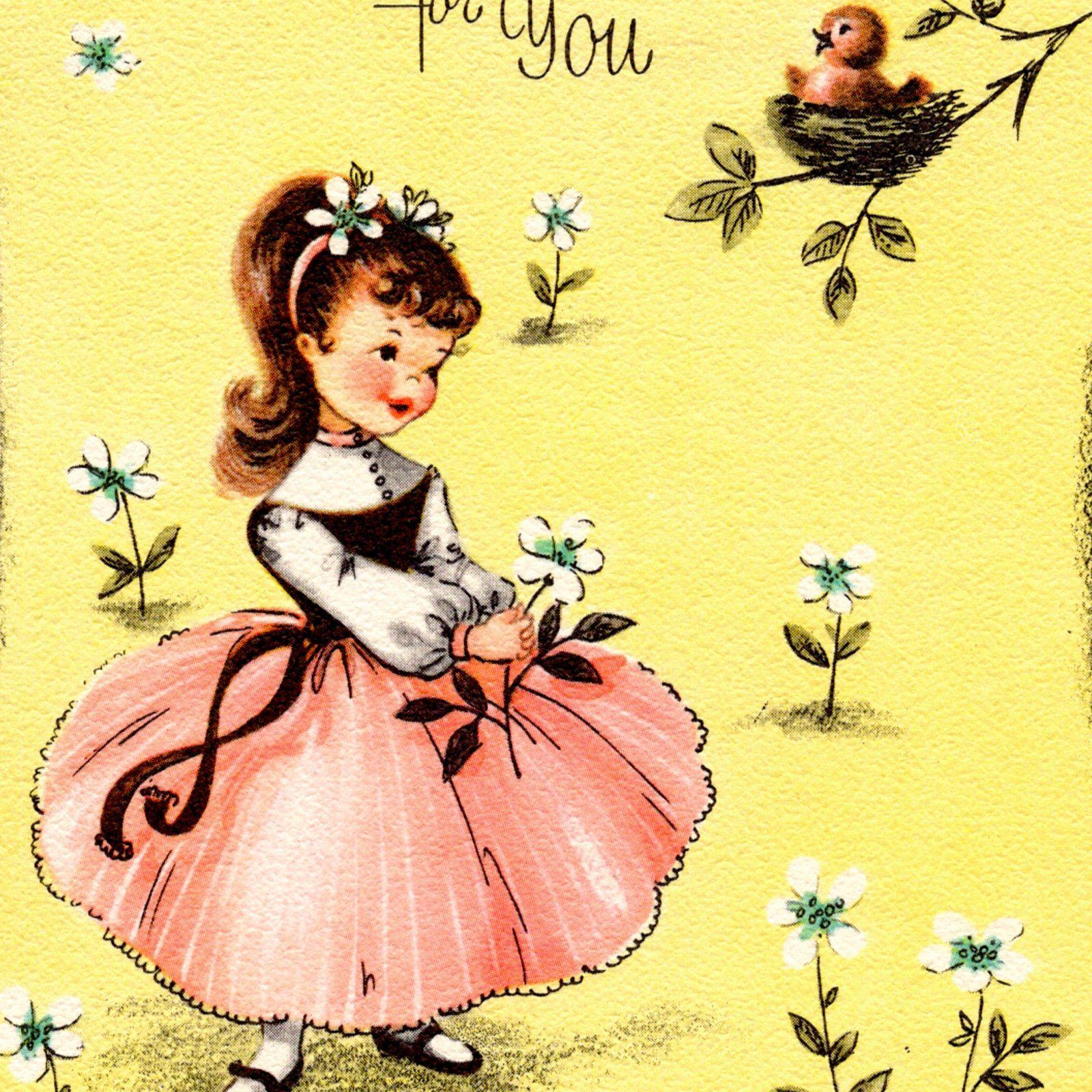vintage birthday card little girl bird nest fancy pink