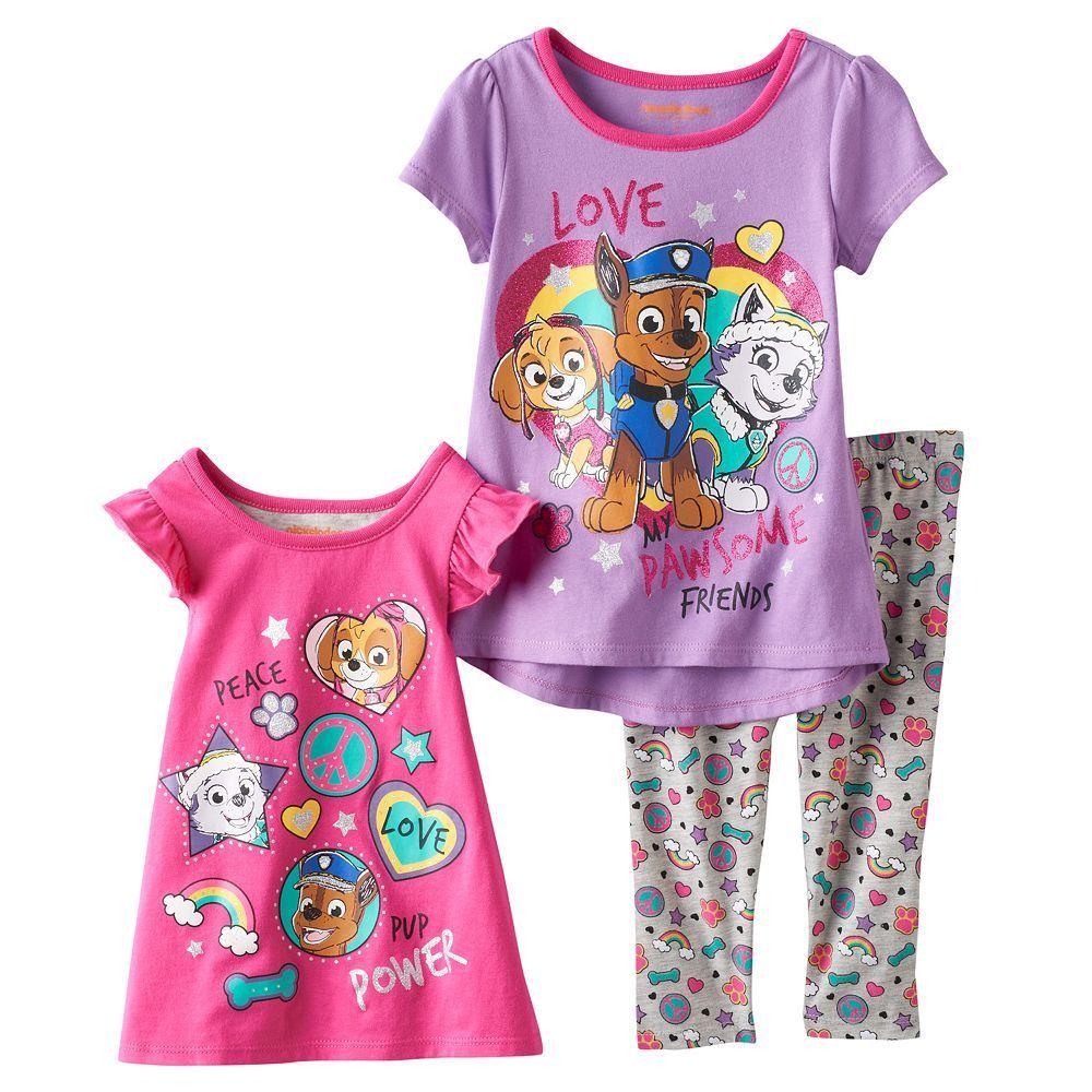 Toddler Girl Paw Patrol Skye, Everest & Chase Peace & Love Tees & Leggings Set, Size: 2T, Purple Oth