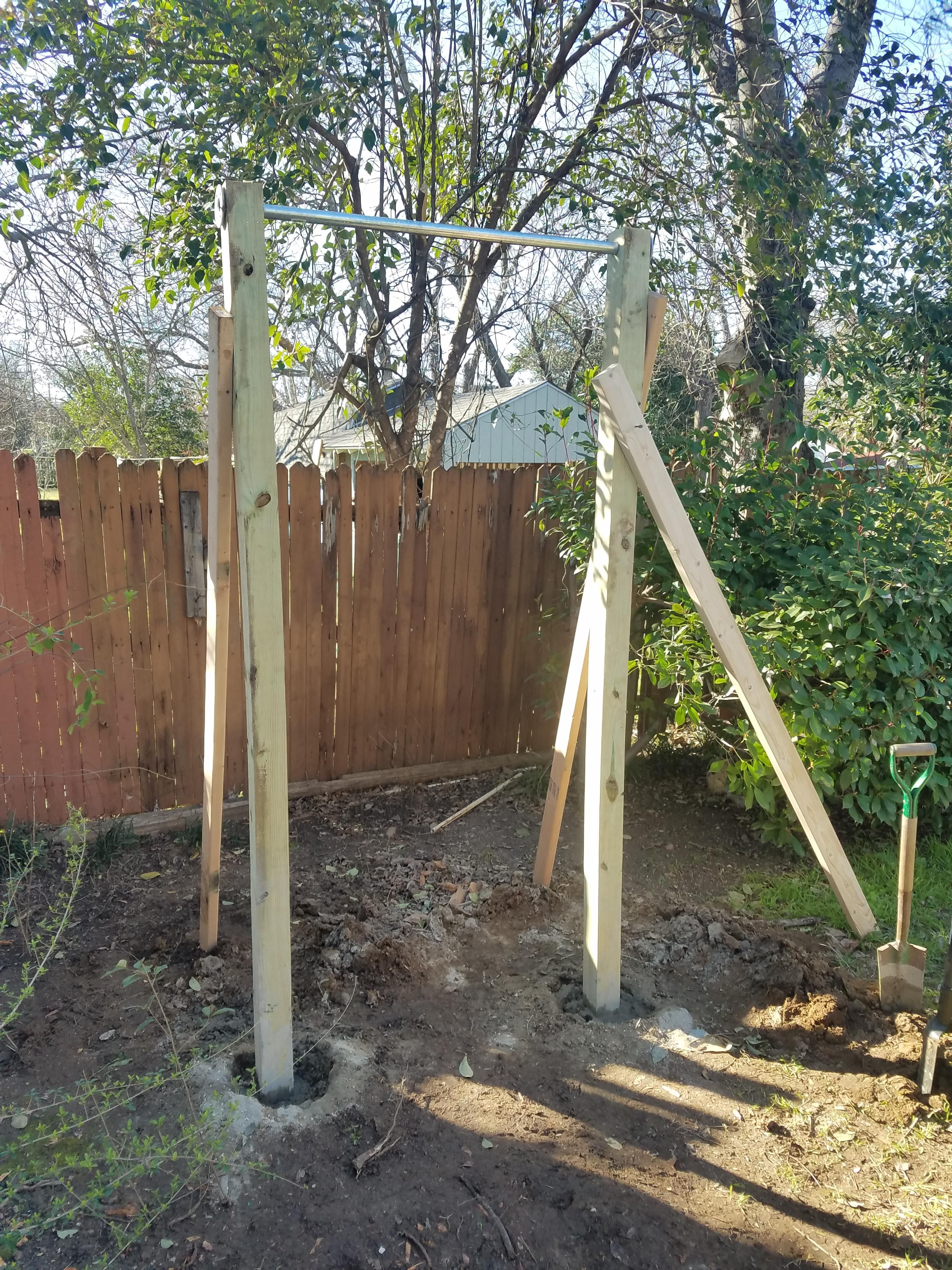 Backyard Pull Up Bar Ring Set Could Add A 15 Rope Climb Too Pretty Cool For A Couples Wod Outdoor Pull Up Bar No Equipment Workout Homemade Pull Up Bar