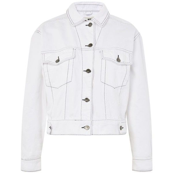 Topshop Moto Oversized Denim Jacket 61 Liked On Polyvore Featuring Outerwear Jackets Topshop Whi Oversized Denim Jacket Denim Jacket White Denim Jacket