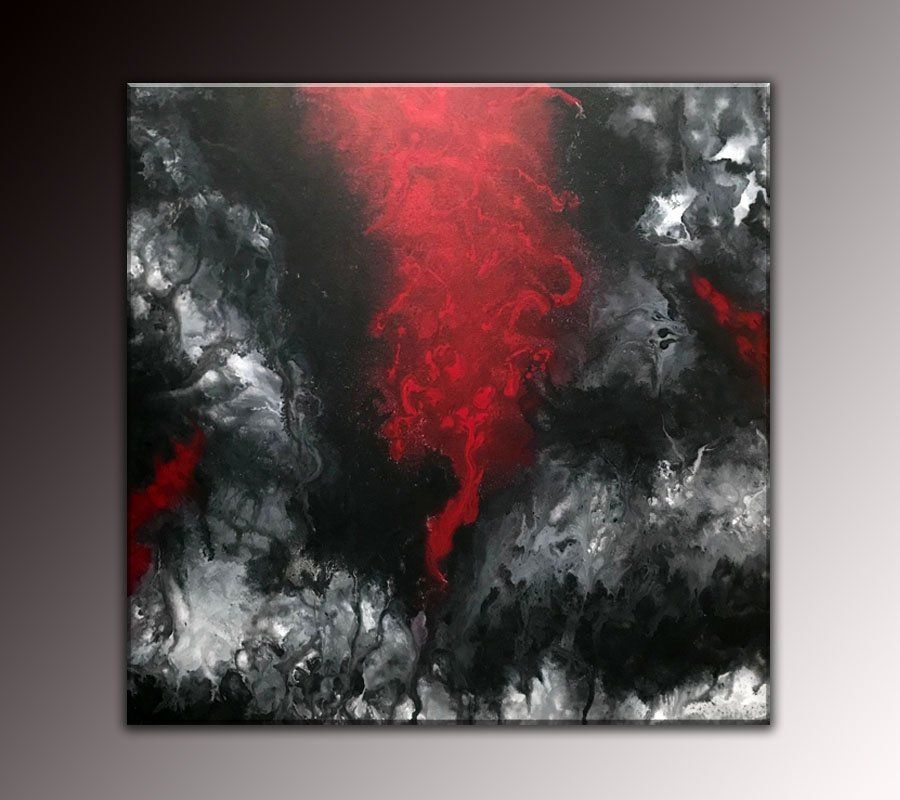 Original Abstract Fluid Art Modern Large Canvas Painting Bold