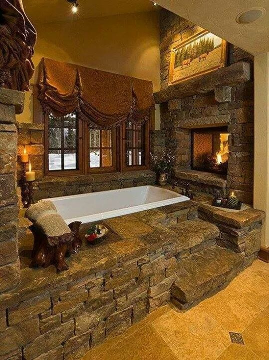 Rustic Bathroom Cabin Fever Log Home Interiors Bathtub By A Fireplace