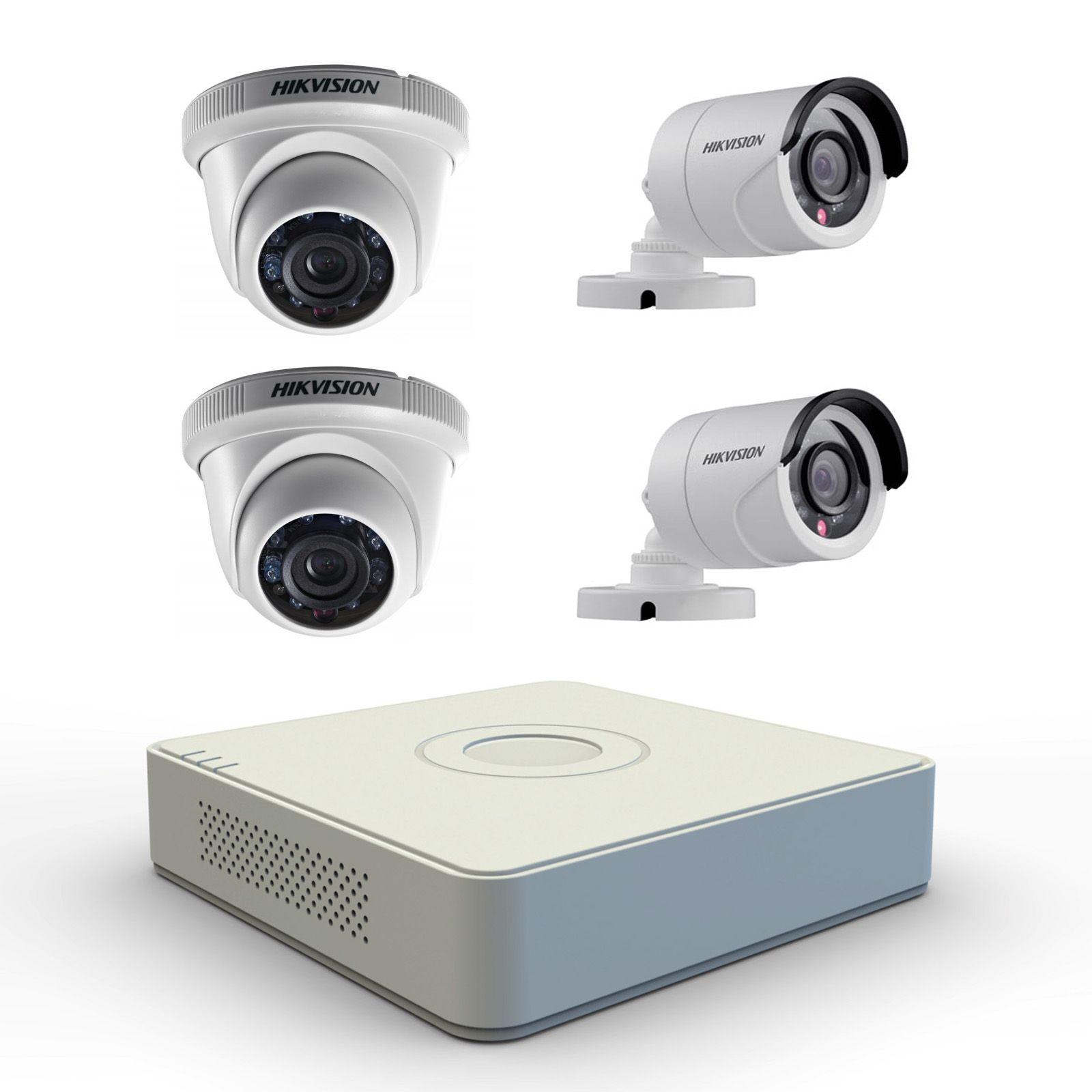 Hikvision 4 Channel DVR + 2 IR Dome Cameras + 2 IR Bullet Cameras ...