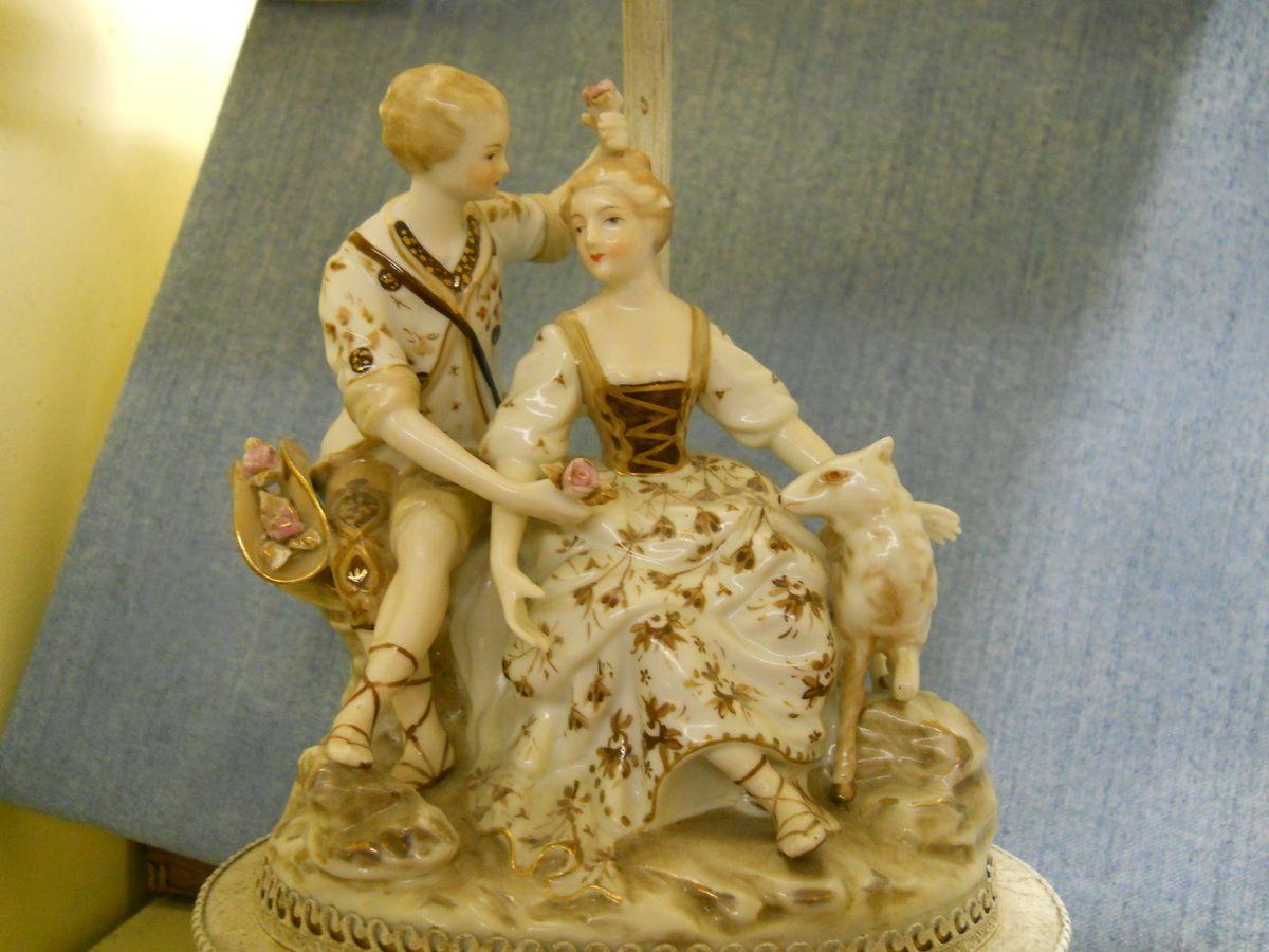 Dresden Meissen Style Porcelain Figurine Lamp