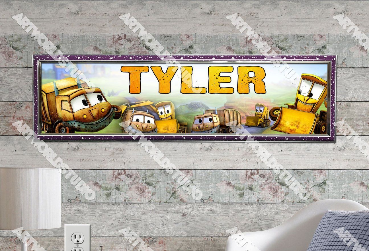 "Glossy Phot Yellow Bulldozer Personalized Name Banner Birthday 8.5/""x30/"" Poster"