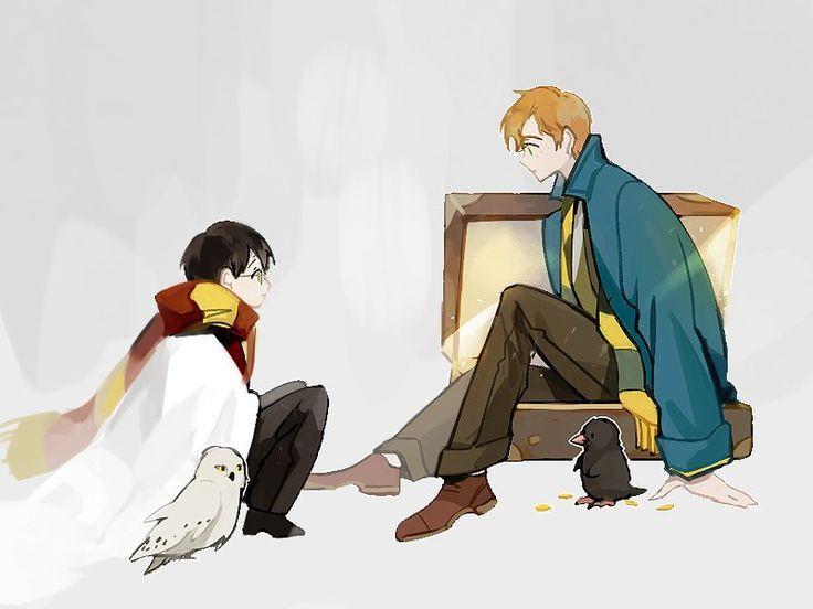 Newt And Harry Harry Potter Anime Harry Potter Fantastic Beasts Harry Potter Fandom